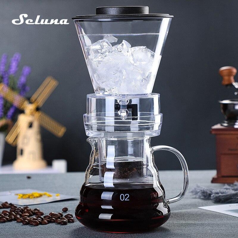 Ice Drip Coffee Pot Glass Coffee Maker Regulatable Dripper Filter Cold Brew Pots Ice Brewer Percolators Espresso Coffee Machine