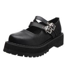 Zapatos de plataforma Retro Vintage para mujer, zapatos de cuero Harajuku Lolita, zapatos de uniforme, zapatos informales con hebilla