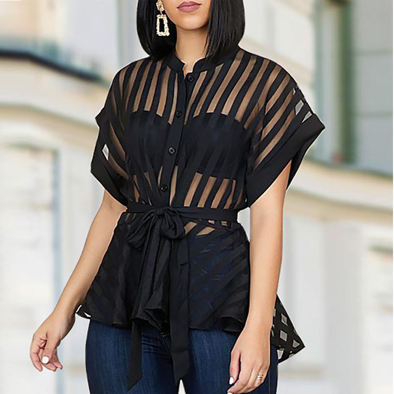 Women Shirts Transparent See Through Short Sleeves with Waist Belt Buttons Sexy Blouses Tops Femme Spring Summer Fashion Bluas