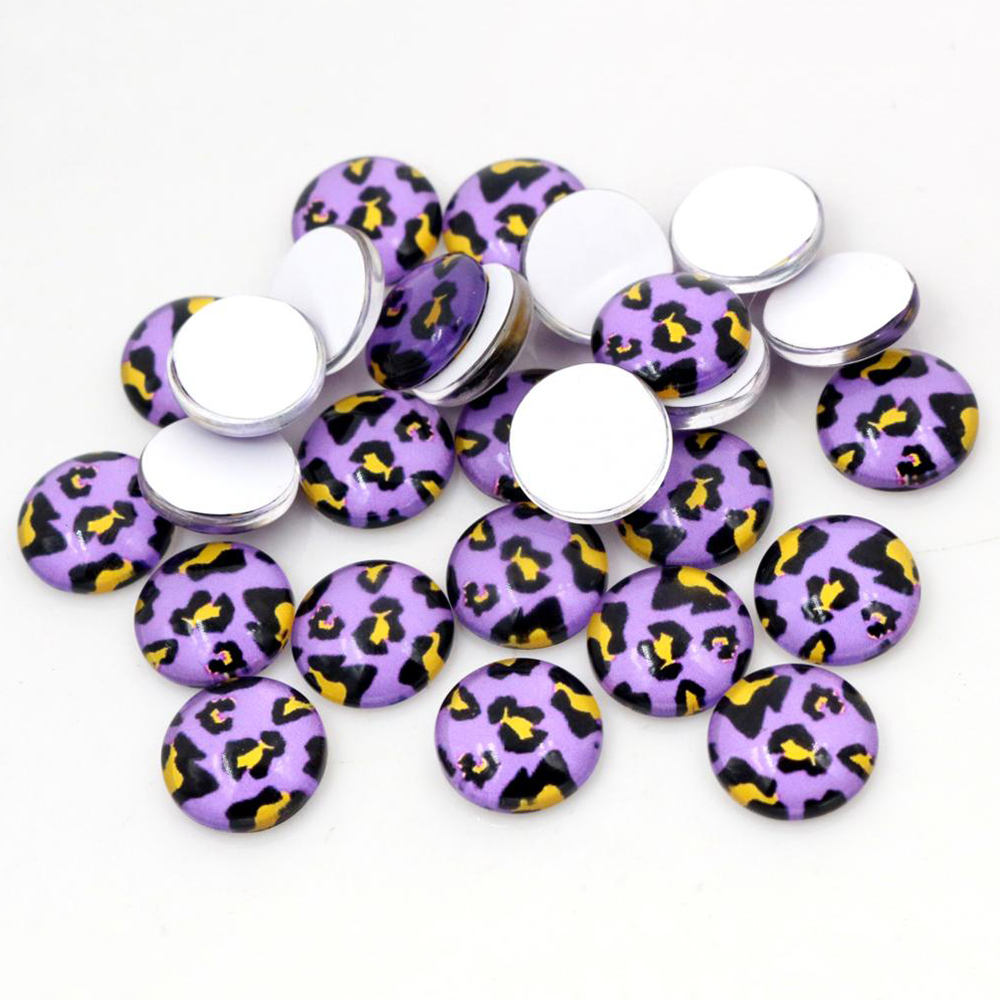 New Fashion  20pcs 12mm Leopard Print Handmade Photo Glass Cabochons Pattern Domed Jewelry Accessories Supplies-E1-28
