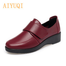 AIYUQI Women Loafers Genuine Leather Flat ladies shoes 2019 New Autumn Non-slip Middle-aged Large Size Womens Shoes