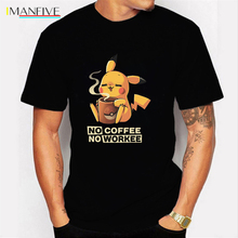 NO COFFEE WORKEE T Shirt PIKACHU POKEMON Tshirt Casual O-Neck Short Mens Shirts Funny Black Men Tops Tees Clothing