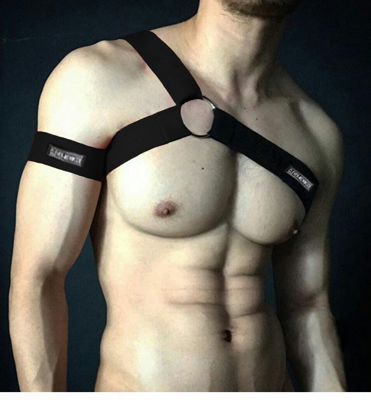 Harness Men Bondage Costume Elastic Sexy Harness Mens Hombre Body Chest Shoulder Belt Halter Bdsm Strap Cosplay Lingerie Rainbow