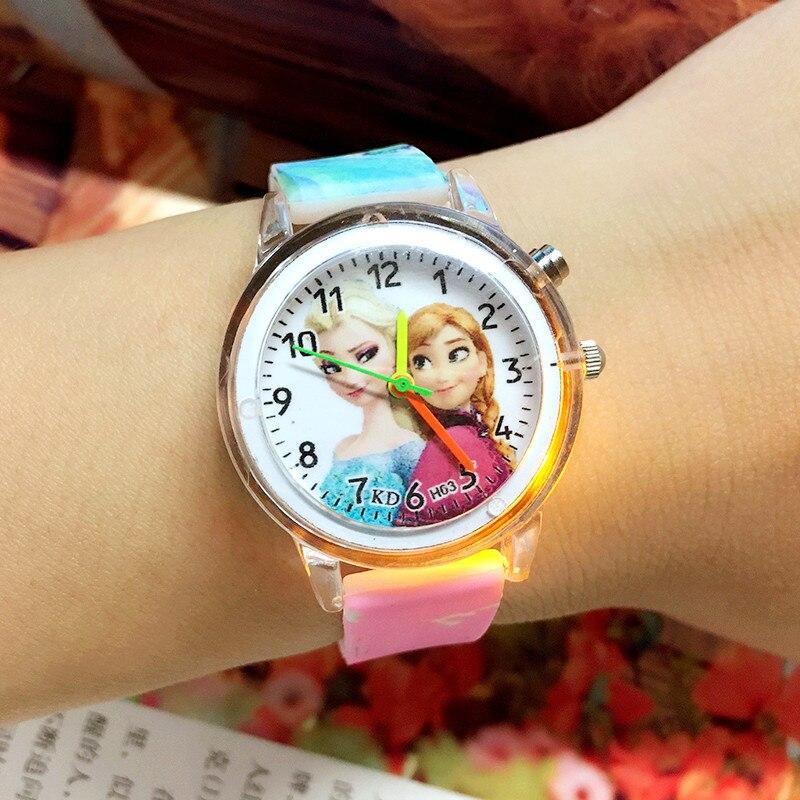 New Arrival Princess Elsa Anna Children Kids Watches Colorful Light Source Boys Watch Girls Kids Party Gift Clock Wrist Relogio