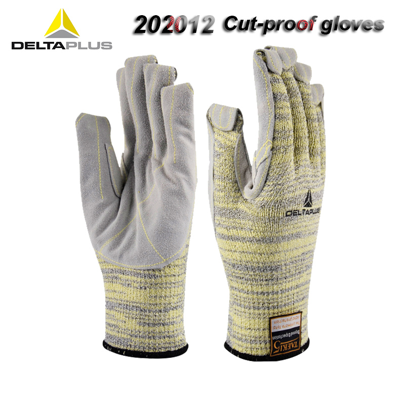 DELTAPLUS Safety Gloves 5LV Cut-proof Gloves Palm Cowhide Reinforce Aramid Fiber Can Short Anti-scald Protective Gloves