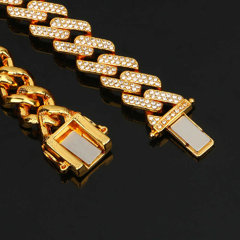 14mm Iced Out Miami kubański Link Chain Hip Hop moda męska naszyjnik Rhinestone Bling złoty srebrny Jewlery 50/60/75/100cm długi