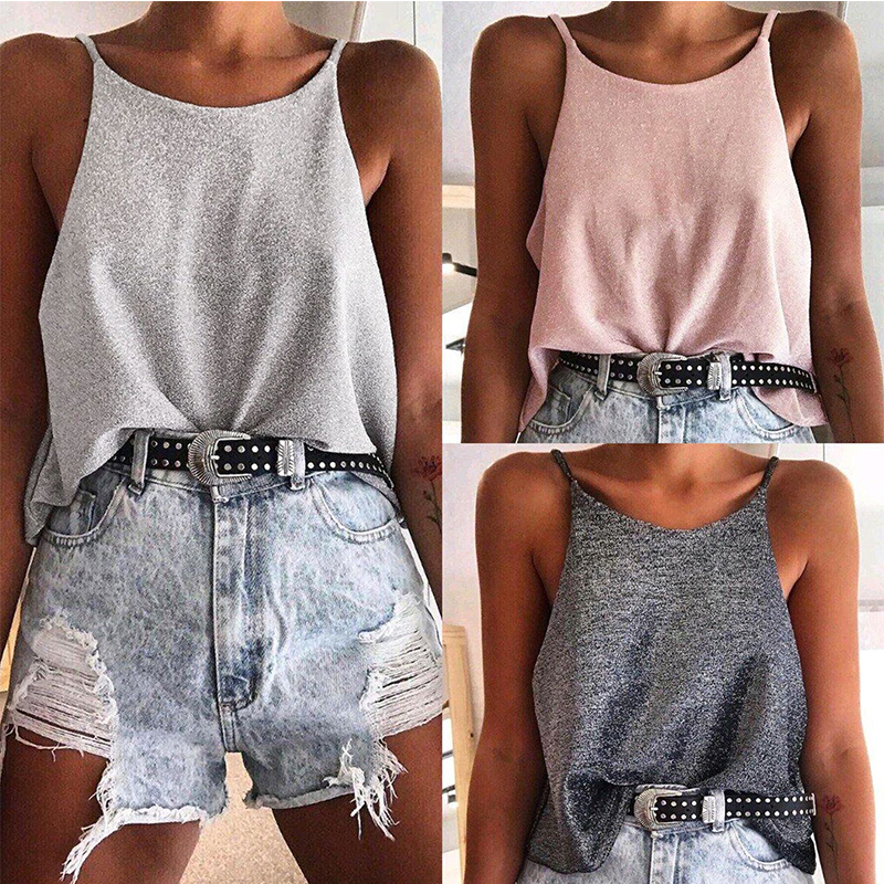 Fashion Sexy Off Shoulder Solid Color Sleeveless Sequined Women Blouse Sexy Tops and Shirt Women Camis Tank Tops(China)