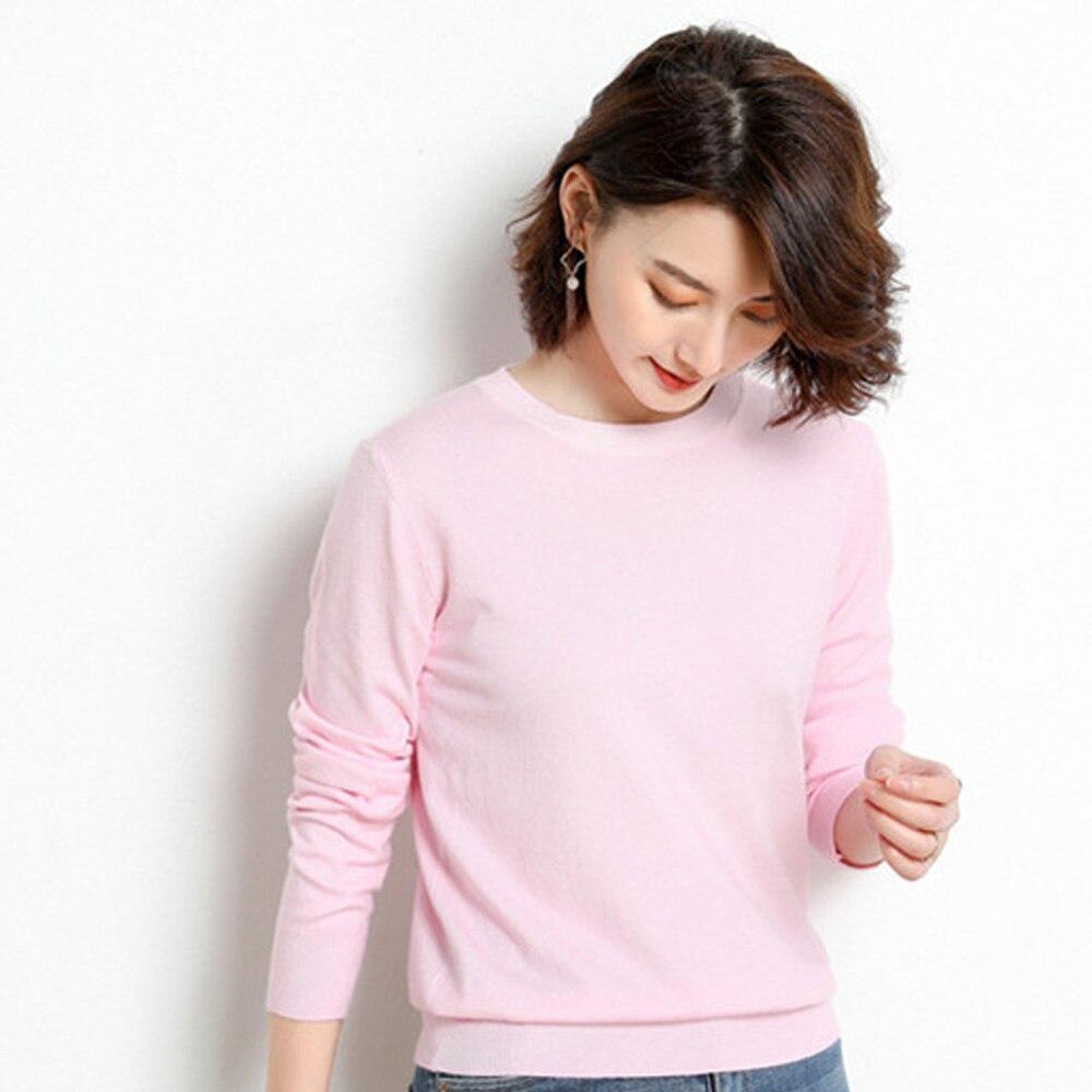 Nouveau mode cachemire mélangé pull tricoté haut pour femme automne hiver O cou pulls femme à manches longues couleur unie S-XXL - 4
