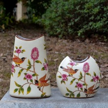 christmas European style Pastoral Ceramic vases Porcelain flower inserts Flat china. Flowers Cracked glaze