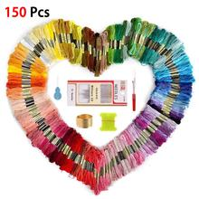 100 150pcs Cross Stitch Threads Floss Random Rainbow Color Sewing Skeins Embroidery Thread Skein DIY Sewing Tools tanie tanio Solid Clothing Accessories Folded 100 COTTON Modern PAPER BAG