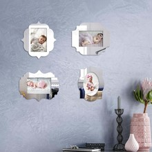 4pcs Photo Wall Magnetic Thin Mirror Picture Frame Baby Simple Creative Magnet Pictures Frames Set 3x3.5in 4x6in 5x7in F012(China)