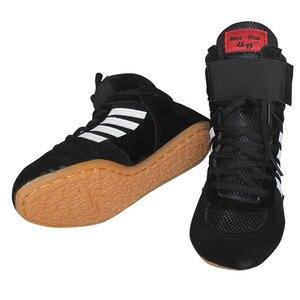 Zapatillas auténticas de lucha para hombres y mujeres, calzado de boxeo alto, suela de músculo de vaca, zapatillas de lucha transpirables, 35-46