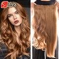 Silike 190g ondulado grampo em extensões de cabelo de uma parte 24 polegada 17 cores disponíveis sintético resistente ao calor fibra extensão do cabelo