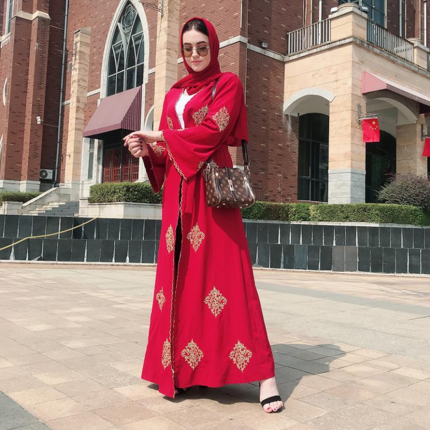 Ramadan golden line embroidery kimono Abaya Women Women's Abaya Women's Clothings Women's Dresses