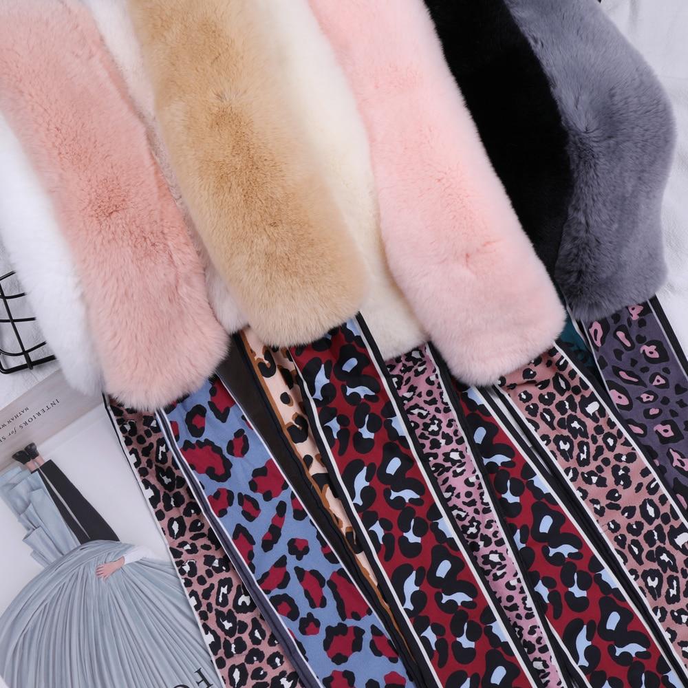 Women/'s Real Rex Rabbit Fur Scarf Girls Winter Warm Scarves Double Sided Snood