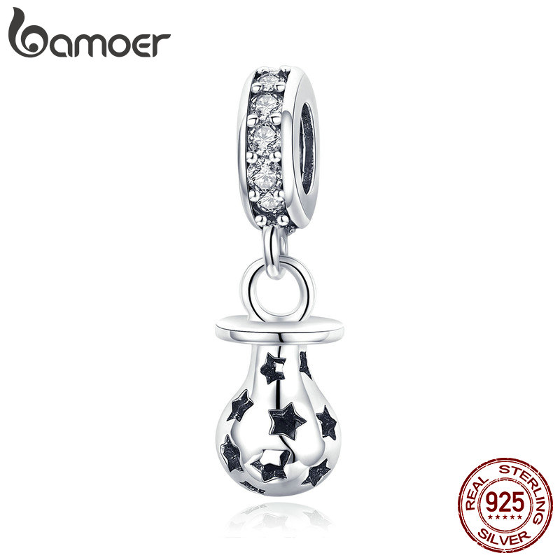 BAMOER New Arrival 925 Sterling Silver Baby Pacifier And Star Engrave Pendant Charms fit Women Bracelets DIY Jewelry SCC891(China)