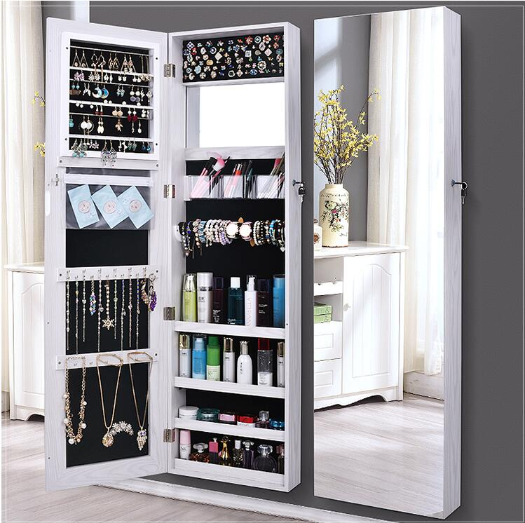 Full-length Mirror Dressing Mirror Female Bedroom Wall-mounted Fitting Mirror Wardrobe Large Mirror Jewelry Storage Cabinet Hous