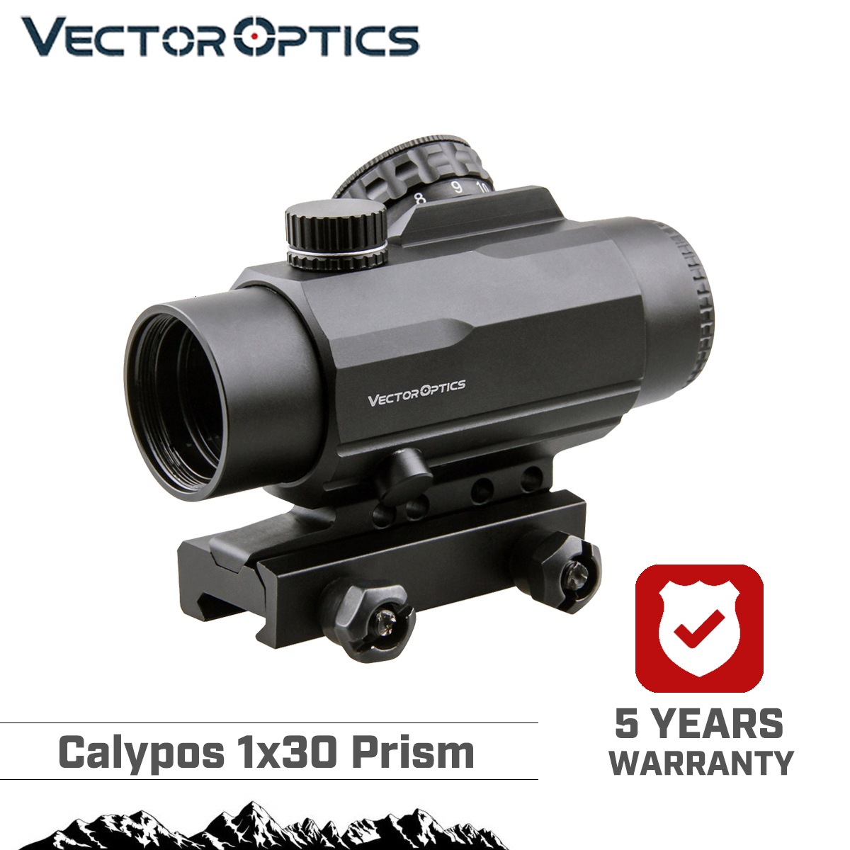 Vector Optics Calypos 1x30 Prism Riflescope CQB Style Fits AR15 M4 Rifle Scope Tactical CQ Reticle For Fast Targeting Shooting
