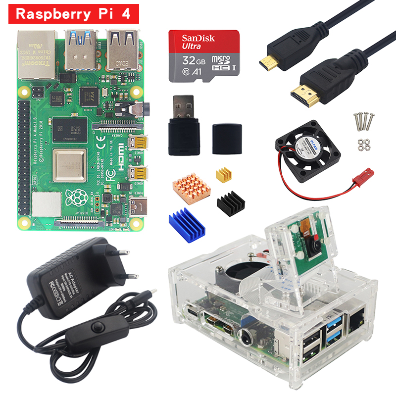 Raspberry Pi 4 Starter Kit 1G 2G 4G RAM Board With Acrylic Case 5MP Camera 3A Power Supply Heat Sink For Raspberry Pi 4 Model B