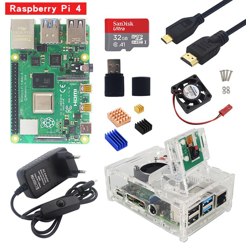 Raspberry Pi 4 Starter Kit 1G 2G 4G RAM Board With Acrylic Case 5MP Camera 3A Power Supply Heat Sink For Raspberry Pi 4 Model B