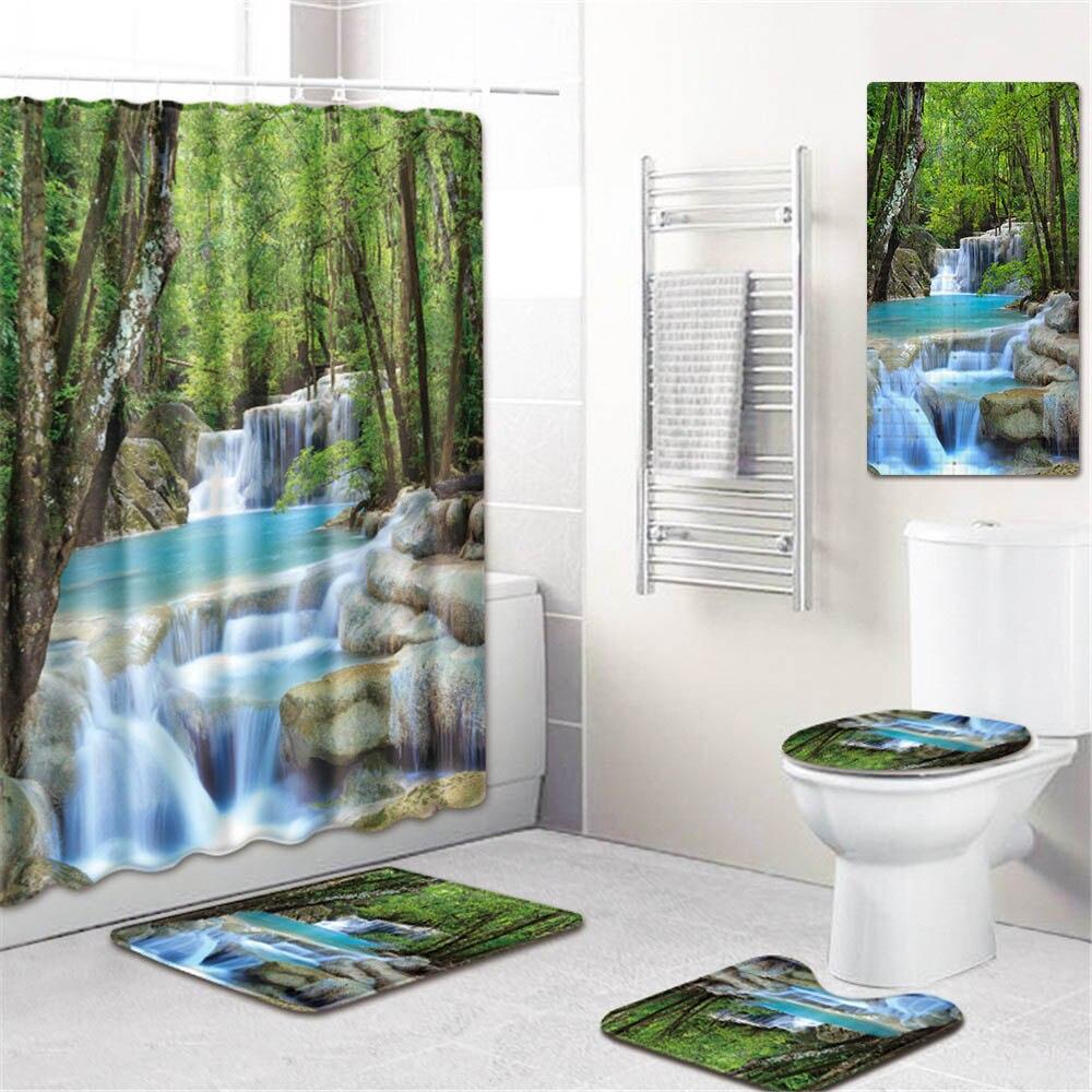 5 шт./компл. 3d Шторки для душа с принтом для ванны водонепроницаемый из полиэстера ткань Противоскользящий коврик для ванной коврик для унитаза