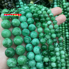 Natural Green Cloud Jades Chalcedony Round Loose Spacer Beads for Jewelry Making Diy Bracelets Women Necklace 6 8 10 12mm 15''