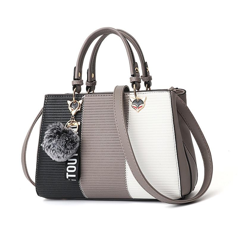 2020 Ins  Ladies Messenger Bags Hairball Ornaments Totes Patchwork Handbag Large Capacity Crossbody Shoulder Bags Women Handbags