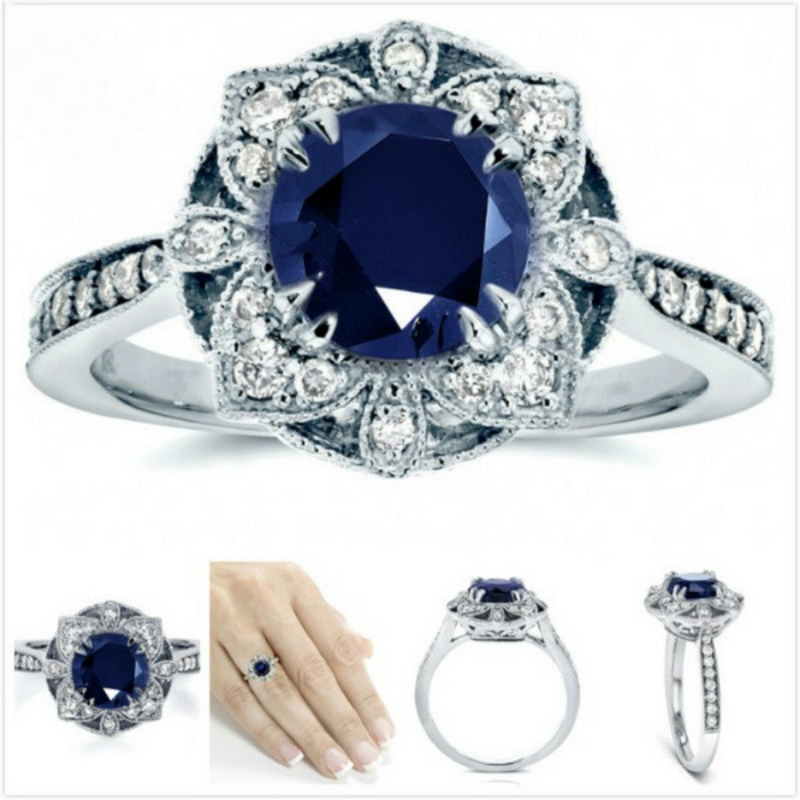 925 Sterling Silver Color Sapphire Topaz Ring for Women Luxury Anillos Wedding Gemstone Round Bule Topaz S925 Ring Fine Jewelry