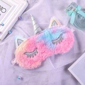 Image 3 - 1pc New Unicorn Eye Mask Cartoon Sleeping Mask Plush Eye Shade Cover Eyeshade Suitable For Travel Home Party Gifts