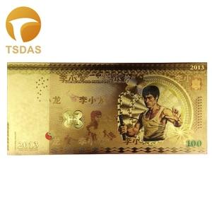 1 pièce feuille d'or billet de banque Collection valeur Bruce Lee 100 fantaisie couleur billet de banque Souvenir billet de banque