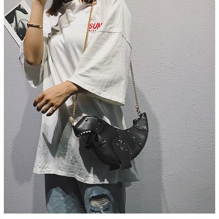 Dinosaur Design Rivets Women's Purses and Handbags Shoulder Chain Bag Designer Small  Crossbody Bag Female Clutch Bag Pu Leather