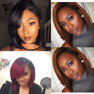 Lace Wig Short Human-Hair Side-Bangs L-Part Bob Brown Straight Black-Women Ombre Brazilian