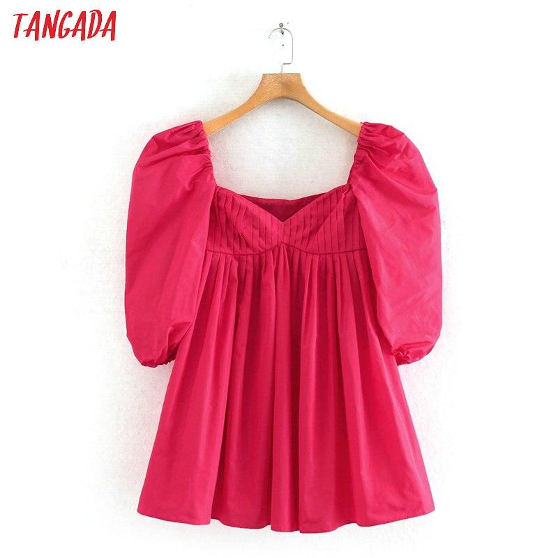 Tangada Summer Fashion Women Solid Hotpink Mini Dress Puff Short Sleeve Ladies Casual Dress Vestidos 2W140