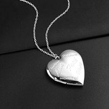 Collar de cadena con corazón en forma de colgantes pueden abierta foto marco grabado Love Faith espero medallón collar con colgante de familia regalo