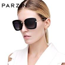 PARZIN Nero Cornice di Piazza Occhiali Da Sole Polarizzati UV400 di Guida Dellannata Shades Per Le Donne Eyewear di Alta Qualità Con Accessori 9535