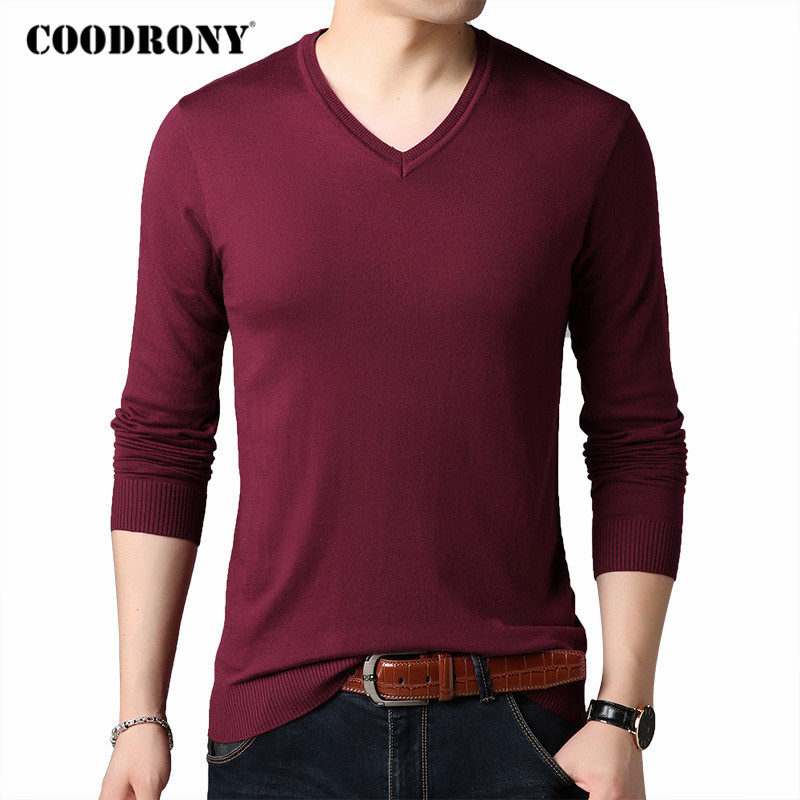 COODRONY Brand Sweater Men Spring Autumn V-Neck Pull Homme Soft Cotton Wool Pullover Men Pure Color Knitwear Mens Sweaters C1046