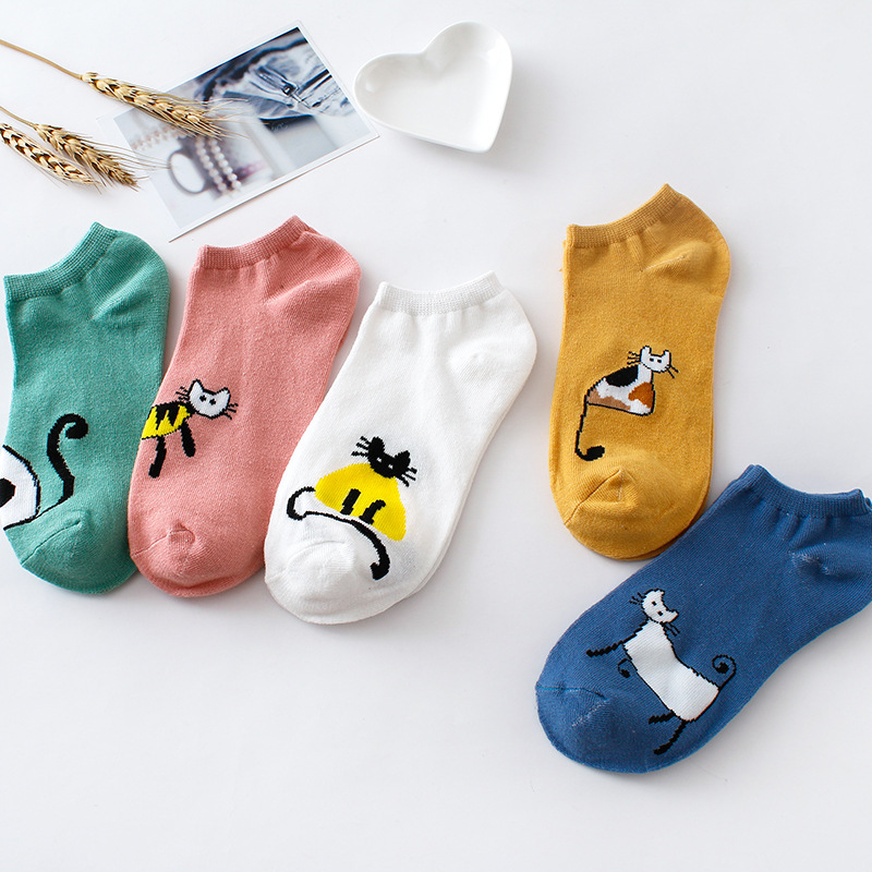 Elifashion Carton Animal Women Ankle Socks Solid Color Plush Boat Socks Womens Lady Girl Short Sox Fashion In 4 Seasons