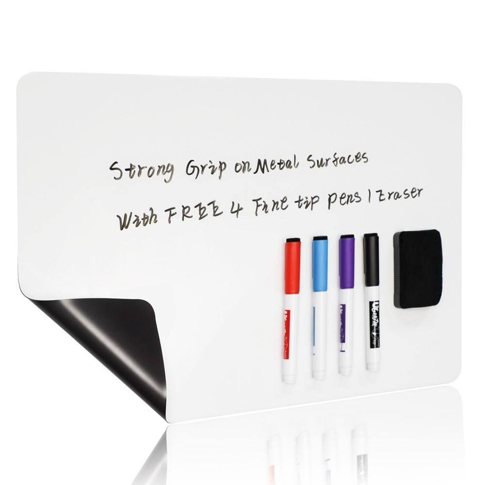 Magnetic Erasable Whiteboard Fridge Magnets Message <font><b>Board</b></font> Memo Pad Magnetic <font><b>Notes</b></font> with Free Pen & Eraser For Fridge decor 11*17