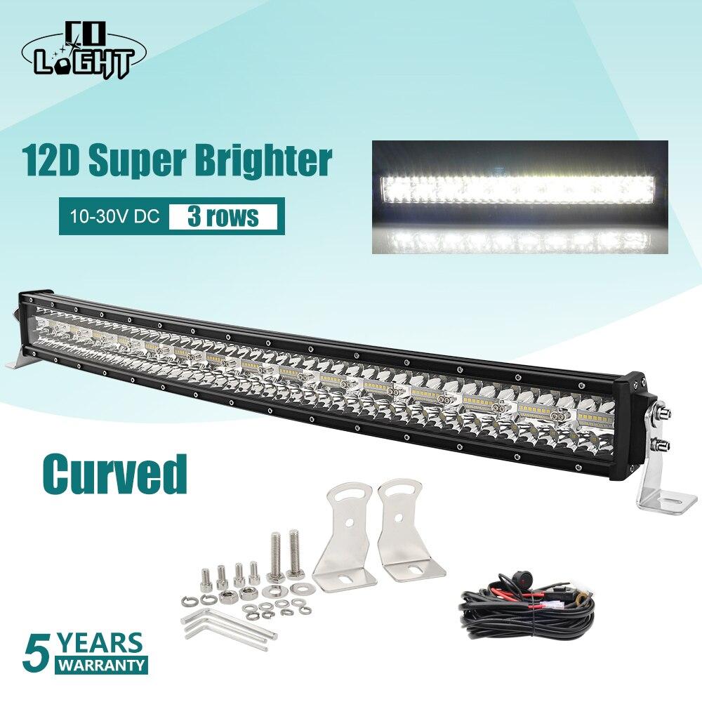 Farol de led curvo de 3 linhas, barra de luz de led com lâmpada co light 52 polegadas 975w 12d luz de led para trabalho em barra 12v 24v, lâmpada para lada 4x4 uaz