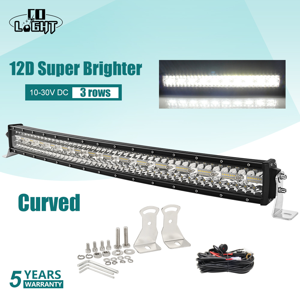 CO LIGHT 52 inch 975W 12D Curved Off road LED Light Bar 3-Rows Combo Beam Barra Led Bar 12V 24V LED Work Light for Lada 4x4 UAZ