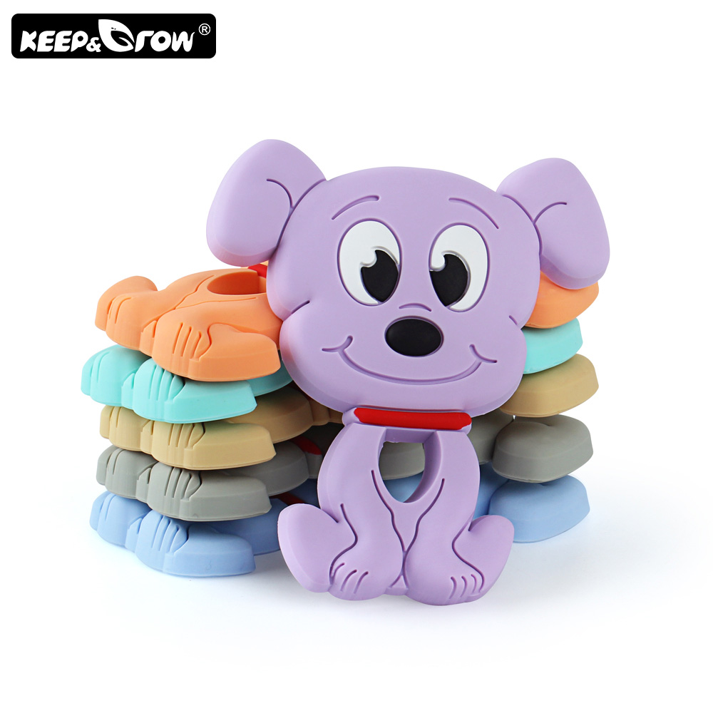 Keep&Grow 1pc Cartoon Dog Silicone Teether Food Grade Rodent Baby Teethers DIY Teething Necklace Silicone Beads Nursing Toys