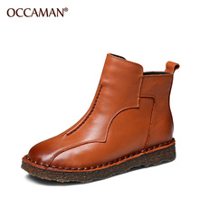 OCCAMAN Platform Shoes Autumn Winter New Design Sewing Genuine Leather Flat Soft Soles Retro Ankle Boots 16021