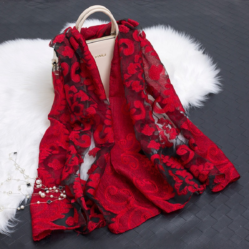 90-180cm Women Simulation Silk Cut Flower Scarf Scarves Girls Embroidery Wild Sunscreen Shawl Adult Long Embroidered Lace Scarfs
