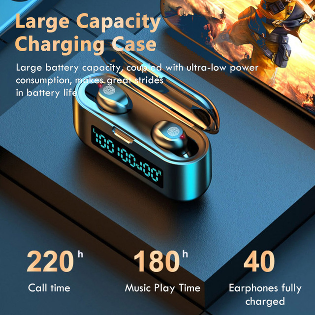 F9 38 TWS Headphones True Wireless Earphones Bluetooth 5.0 Stereo Earbuds with Mic Touch Control LED Digital Display Deep Bass