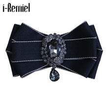 i-Remiel Diamond British Style Fabric Bow Tie Men's Wedding