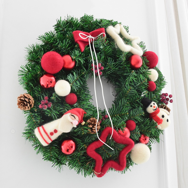 40CM Artificial Wreath Garland Wall Hanging Christmas Wreath Decoration For Xmas Party Door Garland Ornament Home Decor