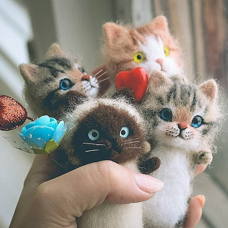 Cute and interesting handmade toys DIY wool felt cat kits unfinished plush doll poking music toy gift(China)