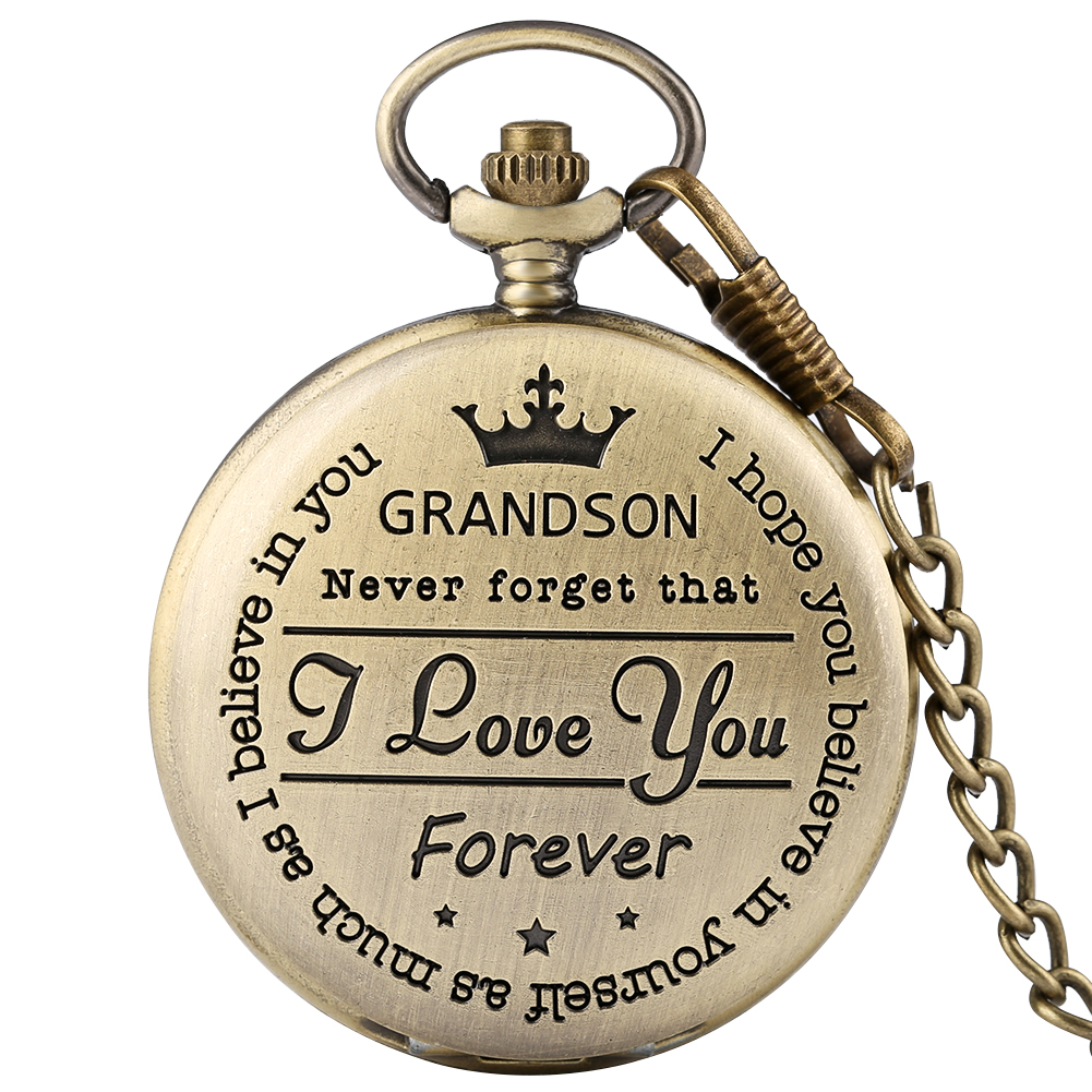 Bronze To My Grandson Quartz Pocket Watch Customized Carving Fob Chain Vintage Pendant Clock Special Gifts For Boy Son