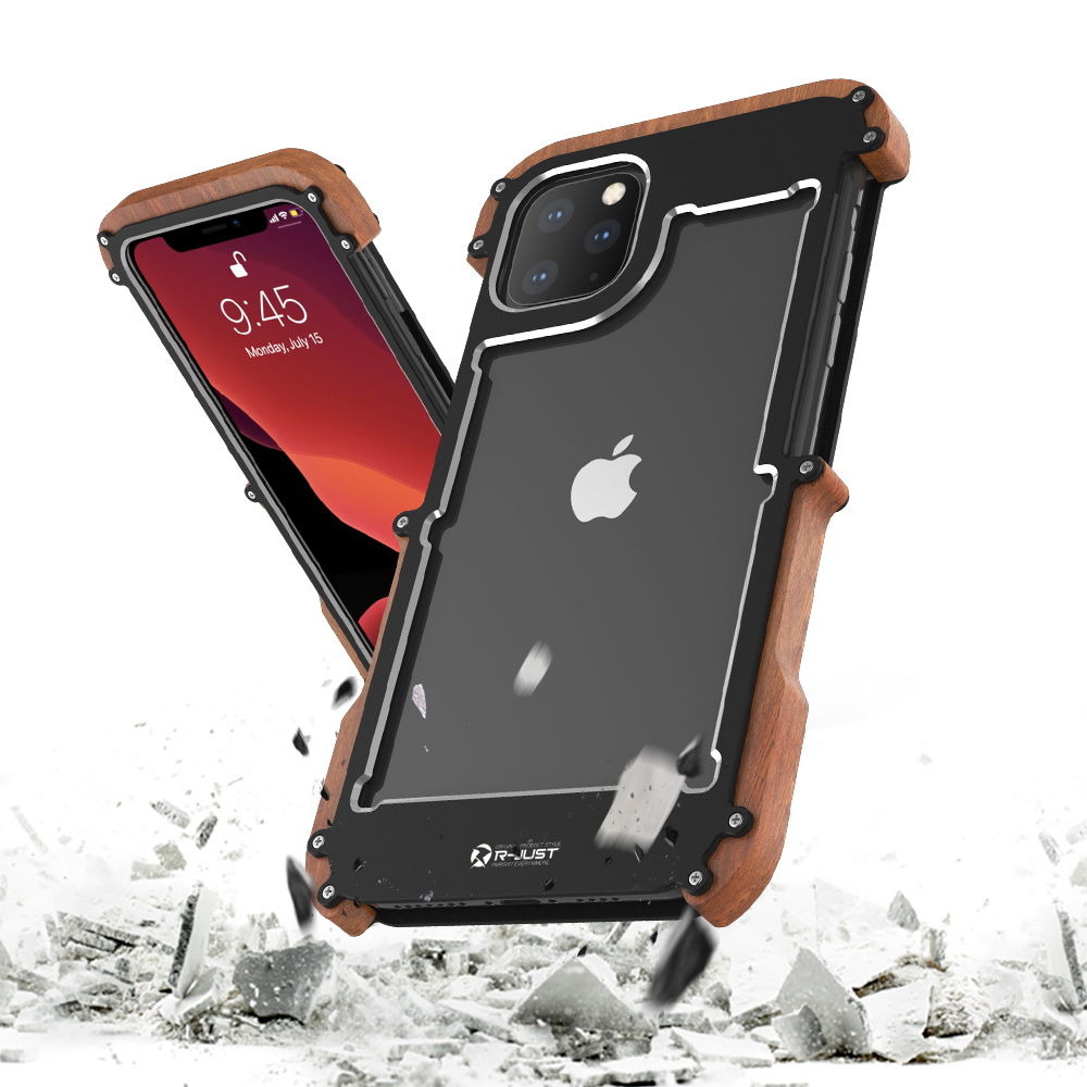 Image 4 - Metal Aluminum wood Case for iPhone 11 2019  iPhone 11 Pro Max  Case For iPhone 11 Pro Max Cover shockproof phone case LuxuryHalf-wrapped Cases   -