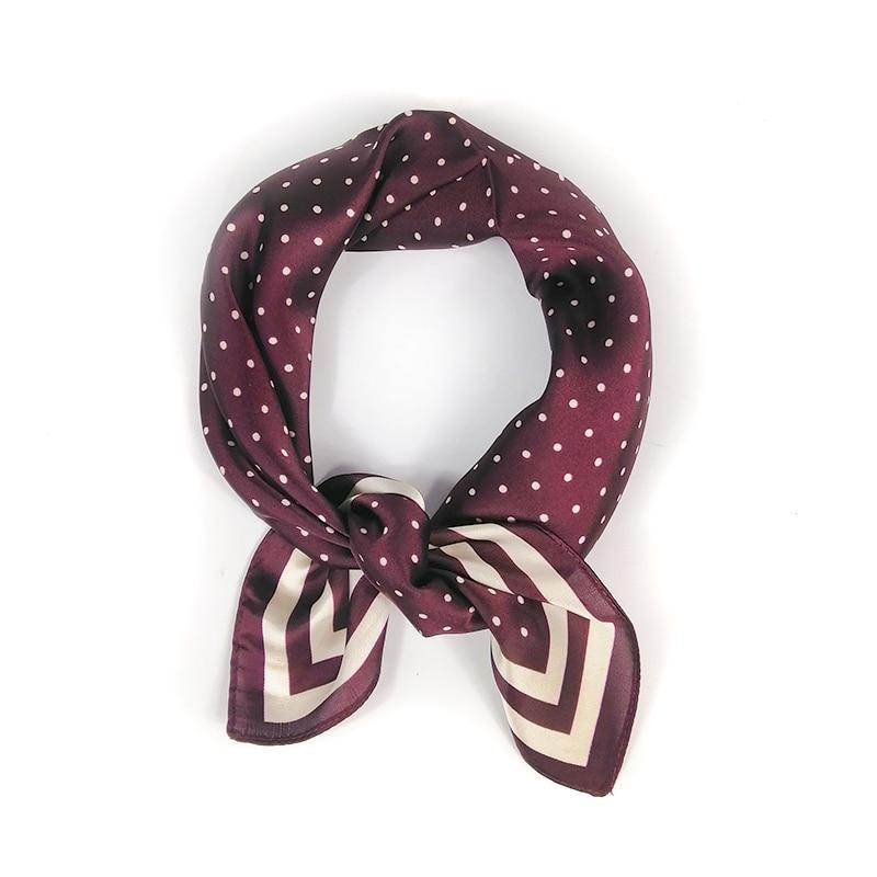 53*53CM Silk Scarf Dots Print Cashew Scarf For Women HeadBand Square Neck Wraps Kerchief Bandana For Head Scarfs For Ladies